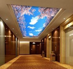 3D-Wallpaper-Mural-Cherry-Blossom-Sky-Cloud-Ceiling-Wall-Paper-Background