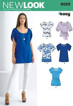 Simplicity/New Look sewing pattern 6025: Misses' Tunic or Tops