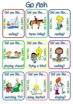 Go fish - Did you like . + verb + ing - English ESL Worksheets for distance learning and physical classrooms English Games, English Activities, Vocabulary Activities, Preschool Worksheets, Learn English Words, English Lessons, French Lessons, Spanish Lessons, Teaching French