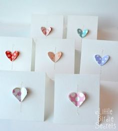 Stitched paper heart valentines heart card