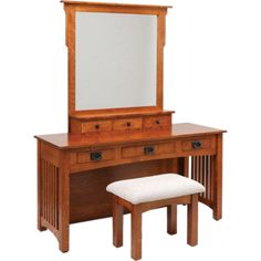 "Amish 60"" Mission Vanity Dressing Table ($1,417) ❤ liked on Polyvore featuring home, furniture, tables, hand made furniture, handmade tables, dovetail furniture, brown furniture and drawer table"