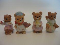 Homco Bears 8820 1409 1430  Group Of 4  #HOMCO