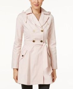 Laundry by Shelli Segal Hooded Double-Breasted Trench Coat  - Pink S