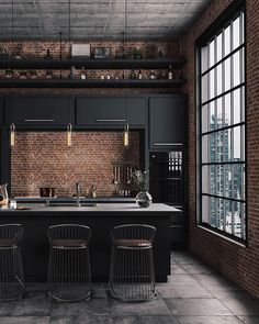 Industrial Farmhouse Design For Your Home Improvement 33 The Coolest Trend in 2019 Kitchen Interior Industrial Kitchen Design, Industrial House, Industrial Interiors, Interior Design Living Room, Industrial Decorating, Industrial Style Kitchen, Loft Interiors, Modern Industrial Decor, Industrial Windows