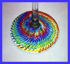 Rainbow painted Wine Glass Bottom