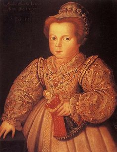 """Arbella Stewart as a toddler.  Arbella Stuart (or """"Arabella"""" and/or """"Stewart"""")  (1575 - 9/27/1615) was for some time considered a possible successor to Queen Elizabeth I on the English throne. Arbella Stuart was a direct descendant of King Henry VII of England. As the only child of Charles Stuart, Earl of Lennox & Elizabeth  Cavendish, she was a grandchild of Matthew Stewart, 4th Earl of Lennox  & Margaret Douglas, who was, in turn, the daughter of Margaret Tudor."""