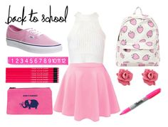 """""""Back To School: Mean Girls Style"""" by mermaidfairy ❤ liked on Polyvore featuring Glamorous, Marc by Marc Jacobs, Vans and Sharpie"""