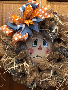 Your place to buy and sell all things handmade Deco Mesh Wreaths, Door Wreaths, Scarecrow Face, Fall Door, Burlap Wreath, House Warming, Frame, Gifts, Handmade