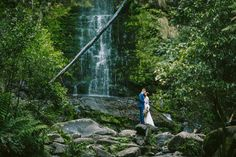 Gorgeous Water Fall Backdrop | A Romantic Forest Elopement | itakeyou #elope #elopement #marianahardwick