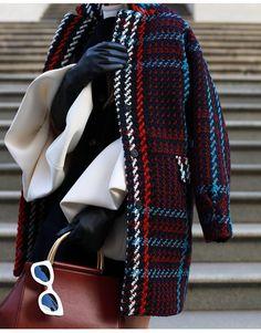 tweed coat, white bell sleeves, black leather gloves