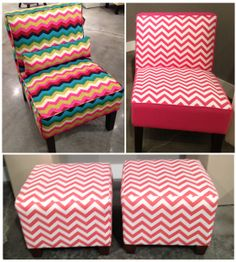 Love these chevron stools for Paige's room! My Room, Girl Room, Cute Furniture, Chevron Furniture, Apartment Needs, High Point Market, Chevron Patterns, Upholstered Sofa, Living Room
