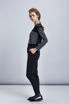 The ultimate Basic long sleeve top in Every closet, is defiantly this Black and white stripe top.  Basic top made of a soft 100% cotton round neck and