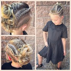 All ready for church! With another edgy hairstyle! This was inspired by the tale All ready for churc Flower Girl Hairstyles, Little Girl Hairstyles, Sleek Hairstyles, Braided Hairstyles, Girl Hair Dos, Girls Braids, Toddler Hair, Love Hair, Hair Cuts