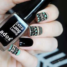 Image about fashion in makeup/nails/tattoos/hennas 💋💄💅🏽 by PrincessJay💕 Love Nails, Pretty Nails, My Nails, Image Nails, Tribal Nails, Nails For Kids, Nail Polish Art, Nail Patterns, Manicure E Pedicure