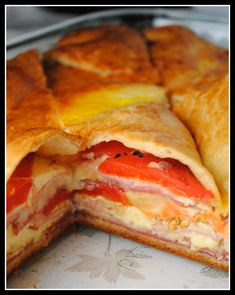 Italian Appetizer Bites: Apparently, people LOVE these...BIG hit!!  Crescent rolls, salami,  ham, provolone cheese, eggs, Parmesan cheese, and jarred roasted red peppers.
