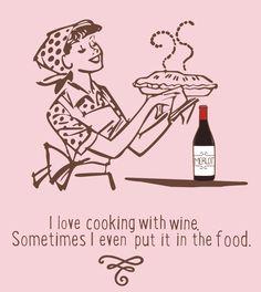 Wine Cooking T- Shirt Foodie Fun
