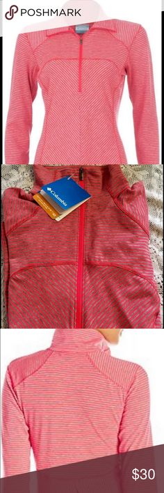NWT Columbia Layer First 1/2 Zip Top-Long Sleeve BRAND NEW With tags Size:Women's 1x Color: Bright pink w/ heather gray stripes  Body-mapping lines in a stretch-infused, performance wicking fabric with just-right baby stripes—this long-sleeve half-zip shirt is the ultimate layering piece for active days in any season. The UPF 40 Layer First Half Zip will protect you from the sun during long hours outdoors, breathe and wick sweat when you're working hard, and feel and fit great through it…