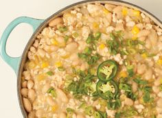 Turkey and White Bean Chili: With soft white beans for creamy richness and a mix of spices, fresh peppers and canned tomatillos for depth of flavor, this is a crowd-pleasing, low-fat chili.