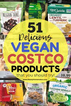 51 Vegan Costco Products If you're vegan and you shop at Costco then you need this list of 51 Costco vegan products! Every item on my shopping list is label-checked, taste-tested, and picky husband-approved! Vegan Foods, Vegan Snacks, Vegan Dinners, Vegan Vegetarian, Vegan Recipes, Vegan Food Brands, Vegan Food List, Whole Foods Vegan, Vegan Lunches