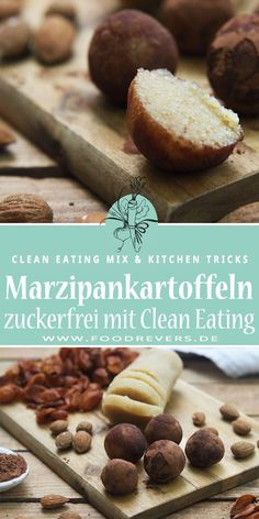 Christmas sugar-free with marzipan potatoes - healthy holidays - foodrevers - Christmas without sugar. These marzipan potatoes are sugar-free and vegan. Healthy holidays and hea - Dessert Sans Gluten, Bon Dessert, Raw Food Recipes, Clean Eating Recipes, Desserts Végétaliens, Vegan Christmas, Christmas Holidays, Food Items, Quick Easy Meals
