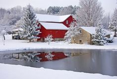 Beautiful winter barn