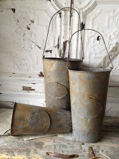 Embossed Metal Hanging French  Flower Market  Buckets