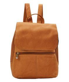 Look at this #zulilyfind! Tan Leather Organizer Backpack #zulilyfinds