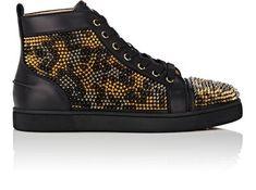 CHRISTIAN LOUBOUTIN Louis Spikes Leo Leather Sneakers. #christianlouboutin #shoes #sneakers