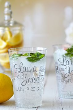 Clear plastic 14 ounce disposable tumblers personalized with the bride and groom's name and wedding date are the perfect size to quench guests thirst at your summer wedding reception. Wedding Reception Food, Wedding Cups, Diy Wedding, Wedding Favors, Wedding Gifts, Dream Wedding, Wedding Day, Reception Ideas, Wedding Hacks