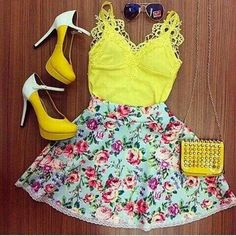 Outfit with many colors, spring is near. ♡