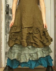 Long Flower Ruffle Skirt. $110.00, via Etsy.