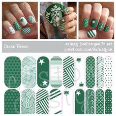 Starbucks inspired nail wraps! <3 #starbucks #jamberry #nailart #greenbeans #nutmegjam