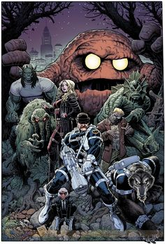 a subset of Op: HEROES: Howling Commandos of SHIELD (with Dum Dum Dugan and Man-Thing) - SHIELD's super-natural monster squad - #9 Variant Cover by Art Adams