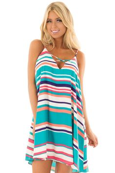 Multicolor Striped Swing Dress with Side Pockets - Lime Lush Boutique
