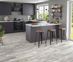 Mikeno Grey Wood Effect Wall And Floor Tiles - Mikeno from Tile Mountain Kitchen Tiles, Kitchen Flooring, Kitchen Decor, Kitchen Design, Wood Effect Floor Tiles, Wall And Floor Tiles, Floor Design, House Design, Interior Design Advice