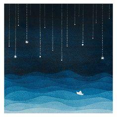 Nautical giclee print watercolor painting art kids wall decor nursery art wall hanging sailboat sea blue night stars illustration