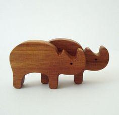 Wood Toy Animals Rhinoceros Miniature Noah's by OohLookItsARabbit, $8.00