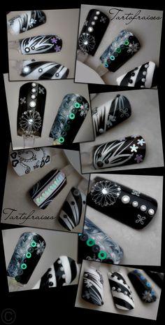 nail art by Tartofraises - black & white