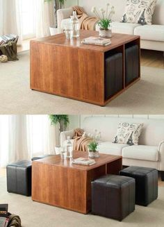 50 Unique Coffee Tables That Help You Declutter and Stylise Your Lounge - Diy Möbel Unique Coffee Table, Diy Coffee Table, Coffee Table Design, Modern Coffee Tables, Coffee Table Chairs, Coffee Table For Small Living Room, Coffee Table With Seating, Coffee Ideas, Lounge Seating
