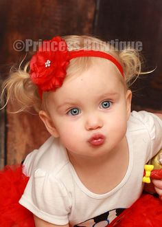Baby Kisses.....Red Fancy Sheer Flower on Red Silky Headband