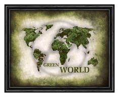 World Map Digital printGreen world map by alexprintableart on Etsy