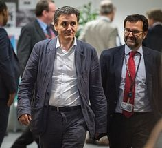 Greek Finance Minister Euklid Tsakalotos prior to the Eurogroup , finance ministers of the single currency EURO zone meeting at EU headquarters in Brussels, Belgium on 11.07.2015 Finance Ministers meet to evaluate Greece's request for a new bailout package by Wiktor Dabkowski --- Image by © Wiktor Dabkowski/dpa/Corbis