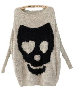 Get cosy with my bones! Grey Batwing Long Sleeve Skull Print Pullovers Sweater - Comfy 'Heart' skullz