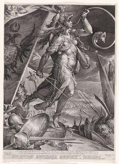 Bellona voert de keizerlijke troepen aan, Jan Harmensz. Muller, Harmen Jansz Muller, Matthias van Oostenrijk (Rooms-Duits keizer), 1600 (rm)