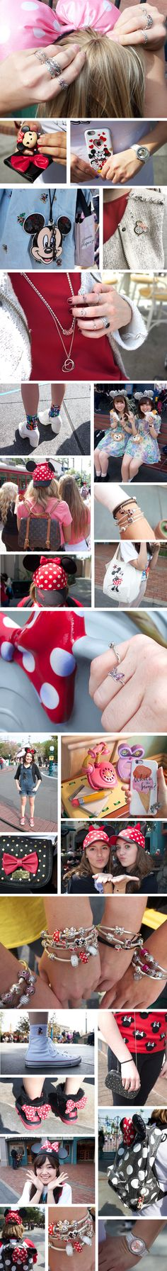 Minnie Mouse street style at Disneyland. | Fashion inspired by bows + polka dots + Pandora Minnie Mouse Collection. | [ https://style.disney.com/fashion/2016/03/30/minnie-mouse-street-style-disneyland/ ]