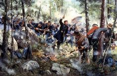 """Joshua  """"Bayonet - July 2, 1863,"""" a painting by American historical artist Don Troiani, depicts the 20th Maine Regiment at Little Round Top in Gettysburg, Pa. With his men running out of ammunition, Col. Joshua Chamberlain leads a bayonet charge during the three-day battle, generally considered the turning point in the American Civil War. This week marks the battle's 150th anniversary."""