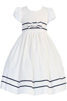 White Cotton Seersucker Dress with Navy Blue Sash & Trim (Baby, Toddlers & Little Girls)