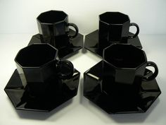ARCOROC OCTIME BLACK TEA COFFEE 4 CUP & SAUCER SETS FRANCE - Retired | eBay