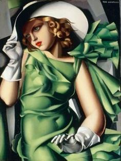 Jeune Fille Vert Tamara Lempicka Giclee Art Print WIth Stretched Canvas Option This is a high quality fine art giclee print of an art deco style painting by Tamara De Lempicka entitled ' Jeune Fille en Vert '. **Please note: additional images. Arte Art Deco, Moda Art Deco, Estilo Art Deco, Pinturas Art Deco, Tamara Lempicka, Lolita Lempicka, Art Nouveau, Romain Gary, Art Deco Paintings
