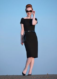 Audrey Hepburn inspired outfit featuring black dress and sunglasses.  Who hasn't pictured themselves like this?!?!?!